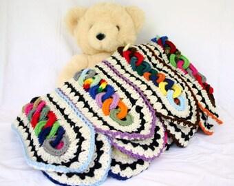 Crochet afghan scrap yarn throw lap blanket interlocking rings stripes colorful couch home decor bedding off white aran black bright