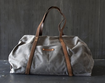 Waxed Canvas Weekender Bag Slate, Waxed Canvas Bag, Overnight Bag, Luggage & Travel Bag, Waxed Canvas Tote, Gift For Him, Leather Bag