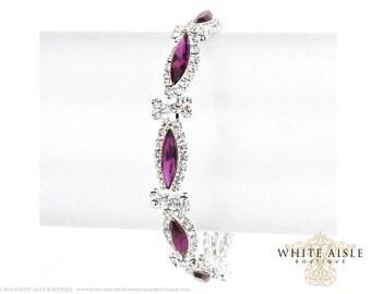 Purple Rhinestone Bracelet, Evening Bracelet, Vintage Inspired Bridal Bracelet, Statement Bracelet, Bridesmaids Jewelry, Formal
