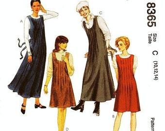 McCall's Dress Pattern 8365 - Misses' Jumper Dress in Two Lengths - Sz 10/12/14 - Uncut
