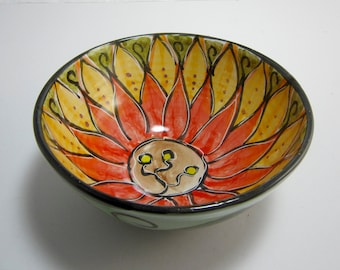 Ceramic Serving Bowl - Clay Pottery Bowl -  Red Orange Lotus Flower - Mandala Pattern - Majolica Pottery -  Kitchen Bowl -  Flower design