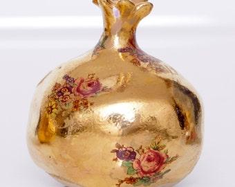 Ceramic Miniature Pomegranate Flowers Gold Handmade Jewish Rosh HaShana