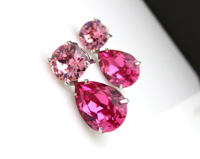 bridesmaid gift earrings christmas prom party bridal wedding Swarovski light rose round stud post rose pink  teardrop crystal rhinestone 8mm