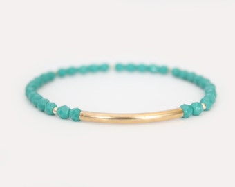 Turquoise Beaded Bar Bracelet - Gold Filled or Sterling Silver - Nuelle