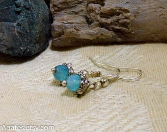 Faceted Blue Agate Silver Dangle Earrings