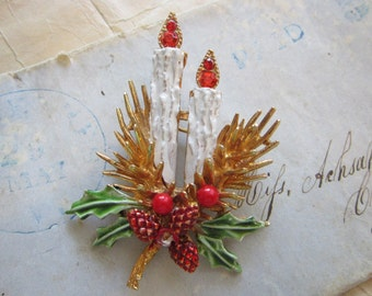 vintage signed ART brooch - holiday CANDLE brooch with holly, figural brooch - as is, one berry missing