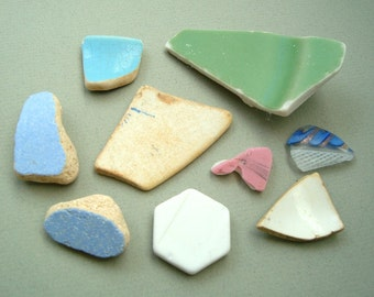 Genuine Sea Glass Pottery, Glass and China Assortment From Rhode Island Beaches 9 Pieces. Beach Pottery Beach Glass Ocean Summer Beachy Mosa