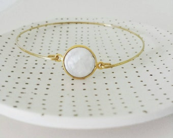 Pearl bangle -bridesmaid gift -stacking bangle bracelet