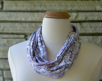 Floral Infinity Scarf. White, purple, green.