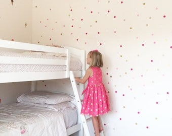Vinyl Wall Sticker Decal Art - Mini Pink Ombre Confetti Dots