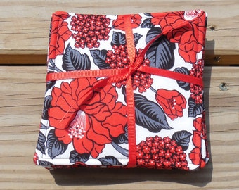 Drink Coasters Red Black Floral Fabric Coasters Cotton Fabric Coasters Set of 6