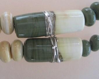 DUET - Olive & Ivory -  - Tubes - 5 Handmade Lampwork Glass Beads - Inv167-Q4