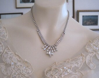 Vintage Weiss Large Pear Drop Rhinestone Necklace Bride Bridal Wedding