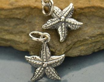 Starfish Small Sterling Silver Charm - C675, Nautical, Beach, Seashell, Sealife