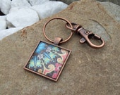 Keychain with Swivel clip, Bohemian key chain, Hippie key ring, yoga mat bag clip, Copper tone clip with Art Pendant