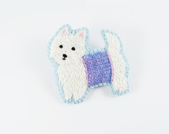 West Highland Terrier Hand Embroidered Brooch/ Westie Felt Brooch/ Hand Embroidery Brooch/ Dog Brooch/ White Terrier Dog Pin/ Pet Portrait