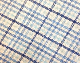 Woven Blue Plaid Fabric Off White