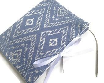 Knitting Needle Case Circular Blue White Ikat Fabric Needle Organizer Storage Multiple Pockets Grosgrain Ribbon Closure Book Fold
