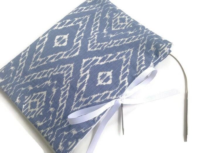 Circular Knitting Fabric : Knitting needle case circular blue white ikat fabric