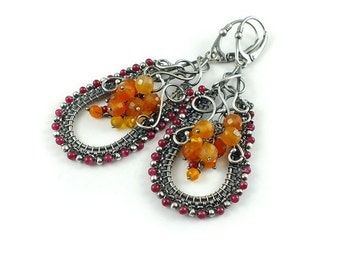 Wire wrap earring, gemstone fine jewelry, orange sterling silver earring