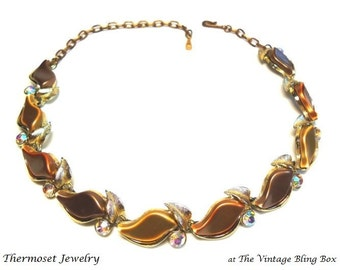 AB Crystal & Moonglow Thermoset Necklace with Pave Set Chaton Cut Crystals in Golden Leaf Motif - Vintage 50s Plastic Costume Jewelry