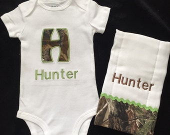 Real tree mossy oak personalized baby boy gift set