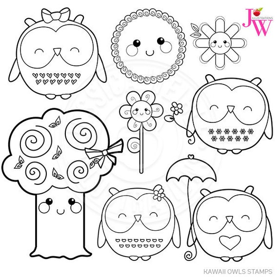 Kawaii Owls Cute Digital Stamps, Spring Owl Clipart, Kawaii Owl ...