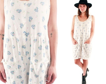 KRISTEN 80s Slouchy White Cotton Country Blue Gingham Heart Print Floral Button Up Romper Jumper Shorts Medium M L