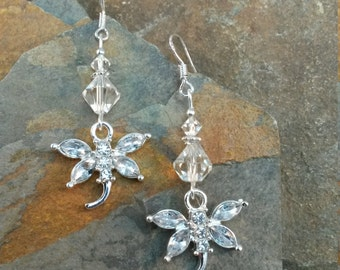 White Crystal Dragonfly Sterling Silver Dangle Earrings, Crystal Dragonfly White Dangle Sterling Silver Earrings