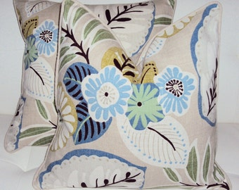 Two Decorative Linen Beachcomber Floral Pillow Covers - Purchase With Or Without Pillow Forms