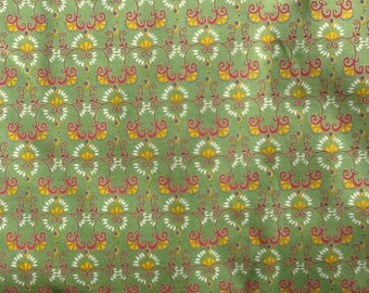 Green Cotton Quilting Fabric Pink White Yellow Design