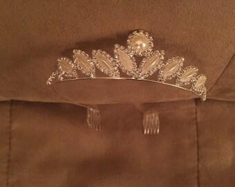 Vintage Rhinestone and Ivory Pearl Bridal Tiara
