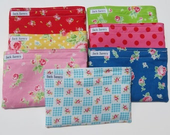 Reusable Snack Bags You Choose Fabric Lecien Flower Sugar