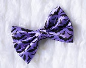 Mini Purple Batty Hair Bow