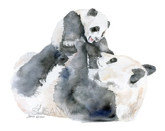 Panda Bears Watercolor Painting - Giclee Print Reproduction - 10x8 / 11x8.5 - Nursery Art - Mother and Baby