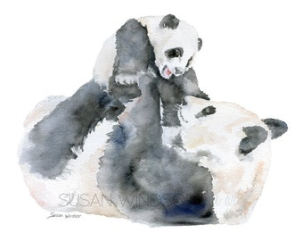 Panda Bears Watercolor Painting - 7 x 5 - Giclee Print - Nursery Art - Great Panda