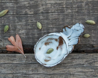 Stoneware scoop, jewelry dish, tea bag holder, appetizer serving spoon
