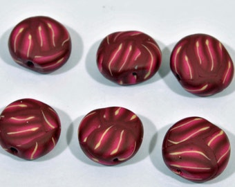 Polymer Clay Beads - Set of 6 in Burgundy