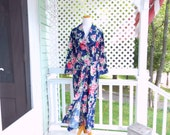 Vintage Robe Vintage Dior Robe Womens Robe Flower Robe Long Floral Robe Womens Size Small