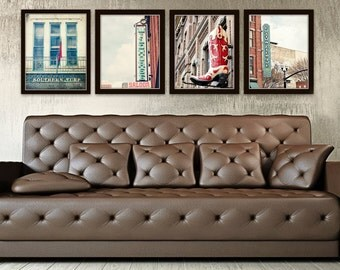 Nashville wall art industrial decor city photography set of 4 Tennessee wall decor vintage Nashville TN sign photography country western art