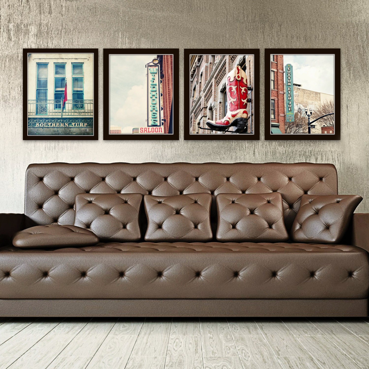 Nashville wall art industrial decor city photography set of 4 for Art wall decoration