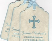 20 Baby Boy Tag, Christening Baptism Favor Tags, Communion Favor Tags, Personalized Baby Boy Blue Cross Design Tags - Vintage Style