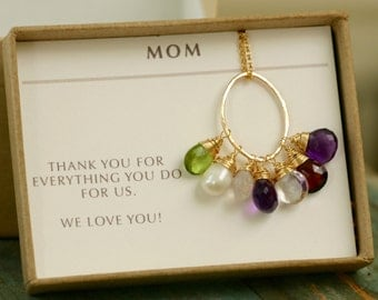 Gold mothers necklace, grandmother necklace jewelry, 7 birthstone necklace, gift for mother in law gift - Julie