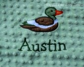 Personalized lovey blanket- sage green and brown mallard duck- baby blanket