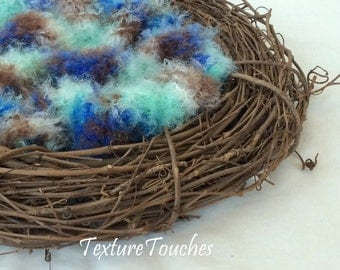 Feathery Soft Blue Aqua Brown Baby Photo Prop in Robin's Nest colors