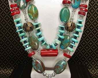 COWGIRL WESTERN NECKLACE Set / Statement Turquoise / Cross  / Howlite Turquoise Coral / Triple Strand Statement - TurQUoiSe & CoRaL GlaMouR