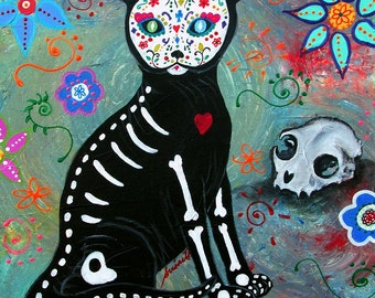 Mexican Folk Art Day of the Dead El Gato Cat Painting PRINT by Pristine Turkus