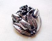 "Vintage sterling brooch Hobe silver floral pin 1940s brooch 1 1/2"" openwork bridal brooch"