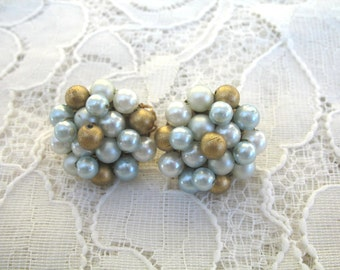 Vintage Cluster Earrings ~ Clip On ~ Palest Blue & Gold Pearl Beads