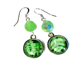 Light Green Fern Earrings, Dangle, Leaf, Nature Lovers Gift, Woodland, in Silver